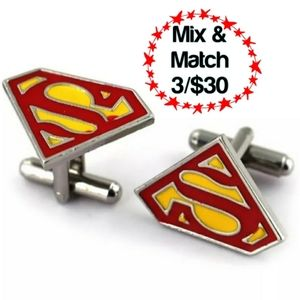🔹️Superman Cuff Links, Red & Yellow